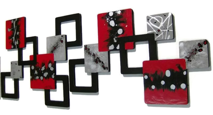 Primary image for 2pc Rich Red,Black,MODERN,ABSTRACT,Squares,WaLL SCULPTURE