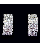 Hoop Earrings Clear Austrian Crystal Three Row Semi Style Silver Tone Metal - $16.99