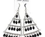 Chandelier earrings black bead  thumb155 crop
