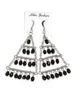 Chandelier Dangle Earrings Black Bead Chain Style Design Silver Tone Metal - $12.99