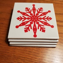 Coasters, set of 4, Red Snowflake on White, Glazed ceramic, cork backing