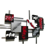 Zoey Red n Black, Modern Sculpture -Square Abstract wood Metal Art Large... - $425.00