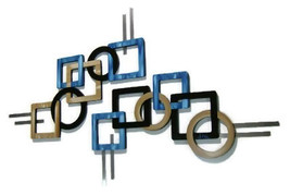 Set of 2 Contemporary Modern Geometric Blue Tan and Black Wall Sculpture 58x37  - $349.99