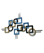 Set of 2 Contemporary Modern Geometric Blue Tan and Black Wall Sculpture... - $349.99