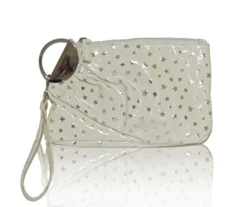 M Style Lab Stars Print Clamp Clutch (Off-White)