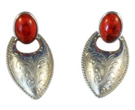 Vintage Southwest Style Clip On Earrings Faux Coral Drop Dangle Silvertone Metal - $15.00