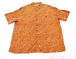 Caribbean Men's Hawaiian Shirt Short Sleeve 100% Rayon Peach Sz XL - $14.84