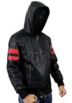 Mens Biker Red Stripes Retro Morotrcyle Hoodie Bomber Black Leather Jacket image 3