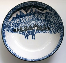 Tienshan Wolf Soup Cereal Bowl by Folkcraft Blue Sponge - $4.94