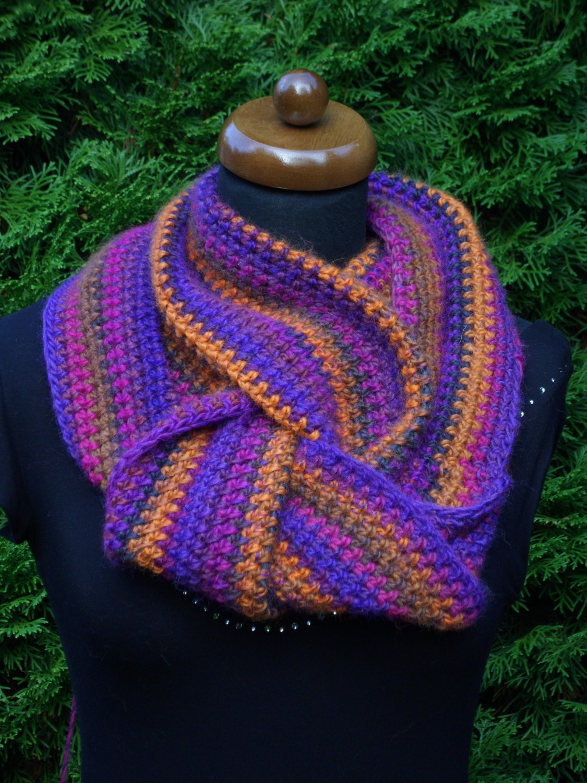 Loop scarf, Circle infinity boho scarf, Hand crochet neckwarmer, orange and lila image 4