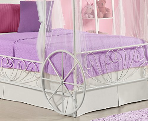 girls princess bed pink white cinderella carriage canopy