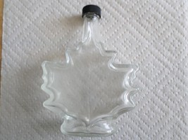 "Vintage Maple Leaf Shaped Empty Glass Bottle-Black Cap- 6 3/4""  x 5"" -De... - $9.99"