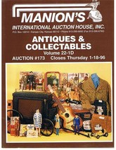 MANION'S ANTIQUES-COLLECTABLES Auction Catalog-Jan-1996 - $9.99