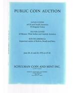 SCHULMAN Coin Auction Catalog 20 June 1972 Gold-Silver-South America-Mex... - $24.99