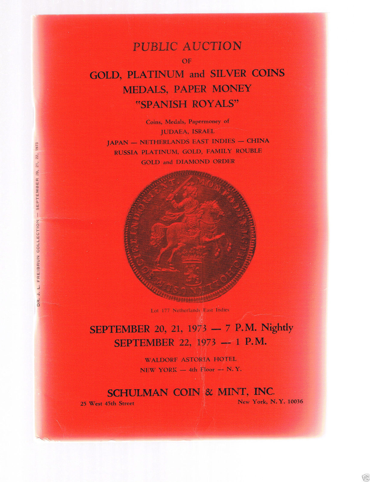 SCHULMAN Coin Catalog September 20-1973 NY-Gold-Platinum-Silver-Spanish Royals +