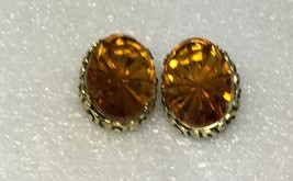 Vintage Sarah Coventry WILD HONEY Amber Glass Gold Tone Clip On Earrings - $11.75