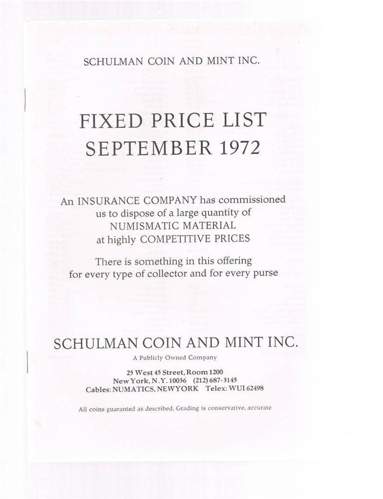 SCHULMAN Coin Catalog Fixed Price List September 1972- Numismatic