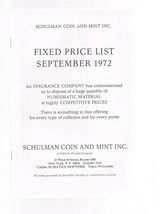 SCHULMAN Coin Catalog Fixed Price List September 1972- Numismatic - $24.99