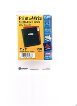 """AVERY 1"""" x 3"""" Print Or Write Multi-Use Labels - 05436 -Injet-Laser- 250 in pkg. - $15.99"""