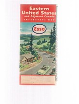 Vintage ESSO Eastern United States fold-out road map 1955-1956-Canada -M... - $9.99