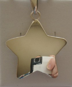 NEW STERLING SILVER BIG SHINY STAR PENDANT SMOOTH CHAIN CHOKER FLASHY AWESOME