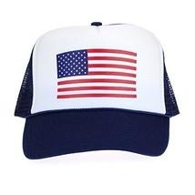 American Flag Patriotic USA Classic 5 Panel Mesh Snap Back Trucker Hat Navy - $12.82
