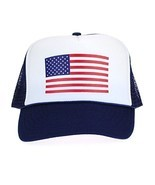 American Flag Patriotic USA Classic 5 Panel Mesh Snap Back Trucker Hat Navy - £10.32 GBP