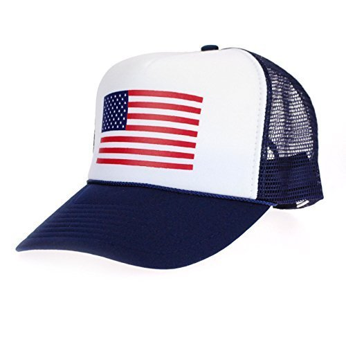 American Flag Patriotic USA Classic 5 Panel Mesh Snap Back Trucker Hat Navy