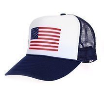 American Flag Patriotic USA Classic 5 Panel Mesh Snap Back Trucker Hat Navy - ₨946.17 INR