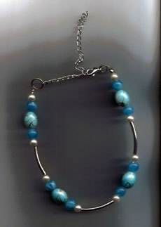 "Bijou Bead DOG Necklace Blue OR Pink  Fits Necks 8""-14"""