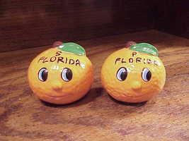 Pair of Florida Oranges Anthropomorphic Faces Salt and Pepper Shakers, p... - $5.95