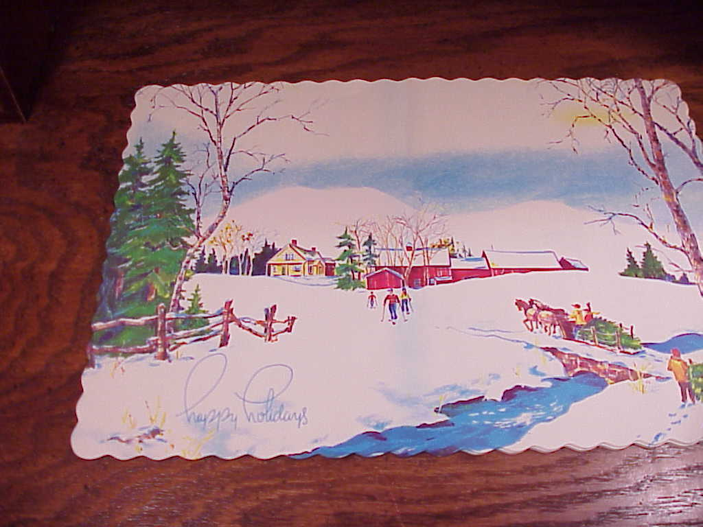 Set of 14 Retro 1978 Happy Holiday Winter Scene Paper Placemats