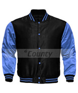 Letterman Baseball College Bomber Super Jacket Sports Sky Blue Purple Satin - $49.98+