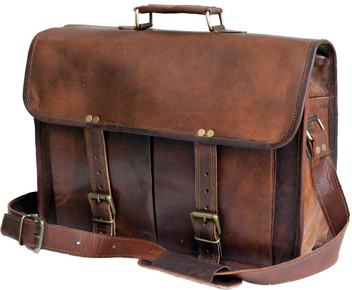 """New 15"""" Briefcase Shoulder Rustic Leather Handbag Business Messenger Laptop Bag"""