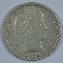1898 P Barber circulated silver quarter - AU details - $100.00