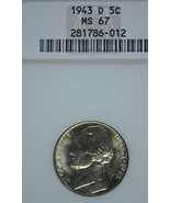 1943 D Jefferson silver nickel NGC MS 67 - $54.00