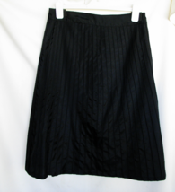 Odille Black Polyester Skirt 8 Side Zipper Button Waist 30 Inch Machine ... - $18.50