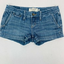 Abercrombie & Fitch Womens Jeans Shorts 0 Blue Mini Stretch Whiskers Med... - $23.03