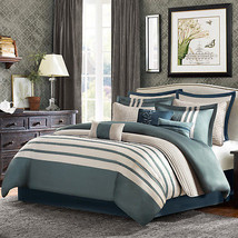 NEW ~ 12pc Madison Park Harlem Comforter Set Queen Blue - $2.758,69 MXN