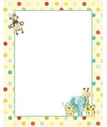 NEW Kids Polka Dot Zoo Animals Letterhead Stationery Paper 26 Sheets - $9.99