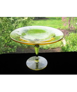 Fostoria Topaz/Yellow Fairfax Compote - $17.50