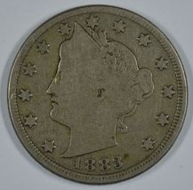 1883 Liberty Head circulated nickel with cents - $25.00