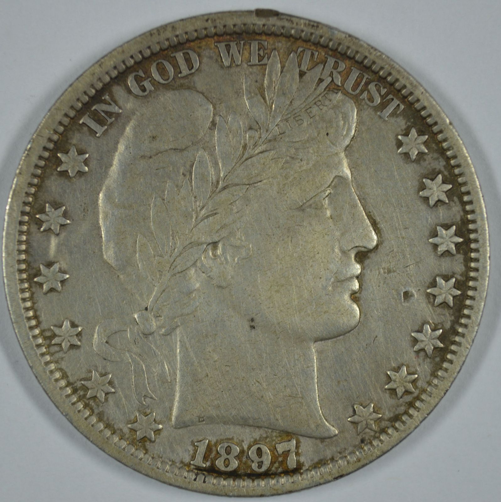 Primary image for 1897 P Barber circulated silver half - XF details