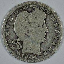 1904 P Barber circulated silver quarter - $13.00