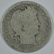 1905 P Barber circulated silver quarter - $23.00