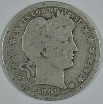 1908 D Barber circulated silver quarter - $12.00
