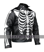 Men Black Skeleton Biker Motorcycle Genuine Leather Jacket with Free CE ... - $179.99