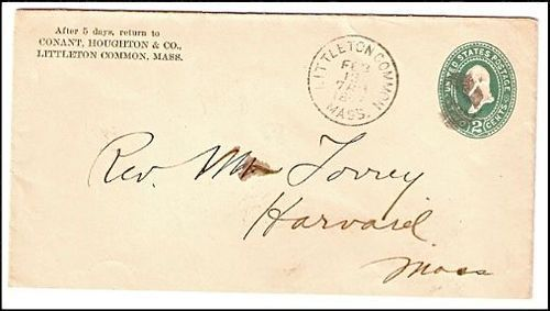 1897 Littleton Common MA Discontinued/Defunct (DPO) Post Office Postal Cover