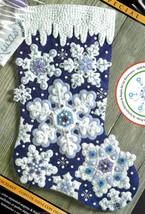 Bucilla Sparkle Snowflakes Winter Snow Christmas Frost Felt Stocking Kit... - $32.95