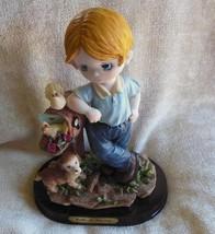 Belle & Benny Figurine/Statue Boy with Dog at Mailbox/Birds - $38.12